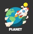 planet rocket around world design image vector image vector image