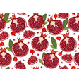 pomegranate fruits seamless pattern and piece on vector image