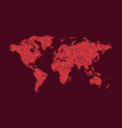 red abstract dotted map of the world vector image