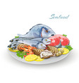 Seafood Plate Composition vector image vector image