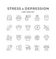 set line icons stress and depression
