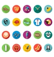 Set of colored flat icons of baseball vector image