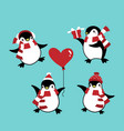 set of penguins in winter custom for christmas vector image vector image