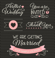 Set of wedding stickers and ribbons vector image vector image