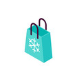 shopping bag snowflake isometric object vector image