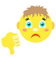 smiley boy with thumb thumb down vector image vector image
