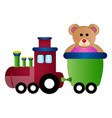 train toy with a teddy bear vector image vector image