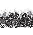 Tropical plants monochrome pattern