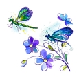 watercolor background with dragonflies and flowers vector image vector image
