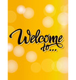 Welcome poster inscription on a yellow background