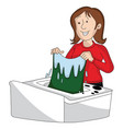woman doing laundry vector image