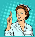 woman nurse attention gesture vector image vector image
