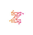 z letter connect dot network logo icon design vector image
