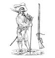 Musketeer vintage engraving vector image