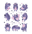 stylized hippo with polka-dotted pattern vector image