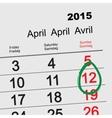 April 12 - Orthodox easter 2015 calendar vector image