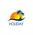beach holiday travel logo vector image vector image