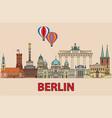 berlin colorful line art 2 vector image vector image