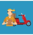Box motorcycle and man of delivery concept design vector image vector image