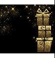 Christmas background with golden gifts vector image vector image
