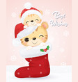 christmas greeting card with tiger vector image
