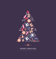 christmas tree with doodles style hand drawn vector image vector image