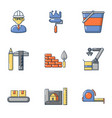 civil engineering icons set cartoon style vector image vector image
