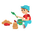 cute little baby boy with playing in the sandbox vector image vector image