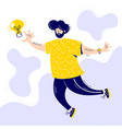 cute young man jumps to catch light bulb vector image vector image