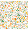 easter bunnies with eggs in flower field pattern vector image