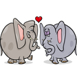 Elephants in love cartoon vector image