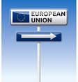 EU flag European union traffic board vector image vector image