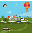 flat design of explorer with spyglass and balloon vector image vector image