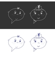 Hand Drawn Faces Boy And Girl Speech Bubble Like vector image vector image