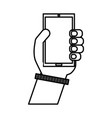hand human with smartphone icon vector image vector image