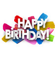 happy birthday card with brush strokes vector image vector image