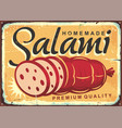 homemade salami retro poster design vector image vector image