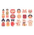 japanese traditional toys daruma kokeshi dolls vector image