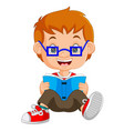 kids boy reading book cartoon vector image