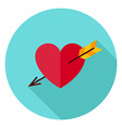 Love Heart Pierced with Arrow Circle Icon vector image vector image
