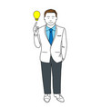 man point on lightbulb vector image vector image
