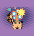 man with an open head festival fireworks carnival vector image vector image