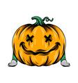 monster sad yellow pumpkin with crossed vector image vector image