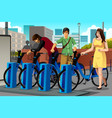 people renting a bike vector image vector image