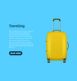 realistic detailed 3d bag for traveling card vector image