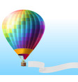 realistic hot air balloon with blank ribbon vector image vector image