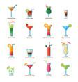 set different alcohol drink cocktails vector image