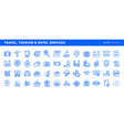 set flat line icons vector image