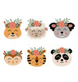 set isolated cute animal faces with flowers 2 vector image