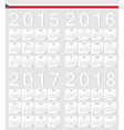 Set of Czech 2015 2016 2017 2018 calendars vector image vector image